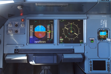 Screens in an airplane cockpit - the control panel for directions, fuel and horizon among others photo