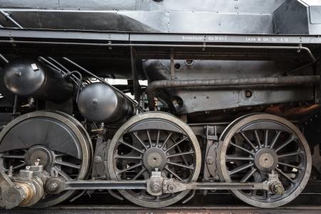 An old steam locomotive in a garage in Austria photo