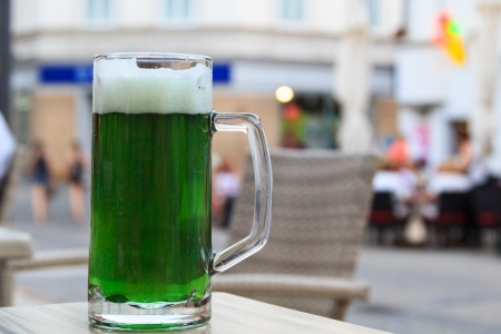 Green beer at a restaurant in Maribor, Slovenia