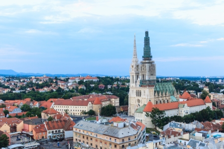The cathedral of Zagreb on captol at sunset photo