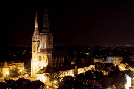 Zagreb cathedral at night on captol hill photo