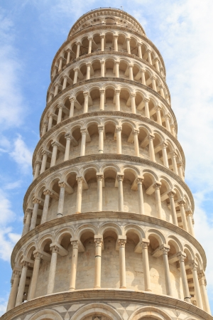 A detail of the leaning tower of Pisa photo