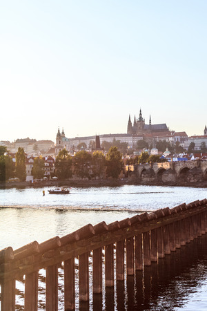 Prague city at dusk photo