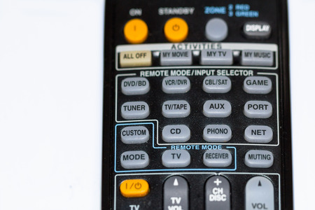phono: A detail of an universal used and dirty black large remote control of an AV receiver