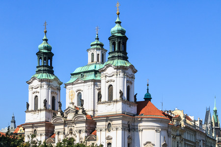 st nicholas cathedral: Front facade of baroque St. Nicholas cathedral in Mala Strana, Prague, Czech Republic