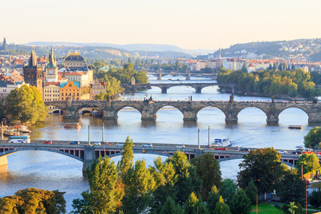 vltava: View on the main bridges of Prague on Vltava at sunset from above (Letna), Czech Republic