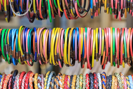 wristbands: Colorful slim leather wristbands on a market