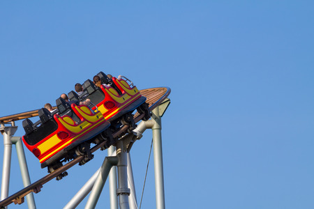A roller coaster in the Viennese Prater in a left curve photo