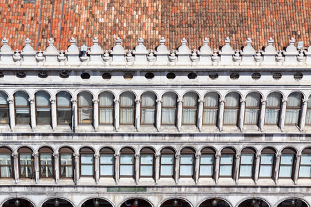 Detail of the facade on piazza San Marco seen from the Campanile in Venice photo