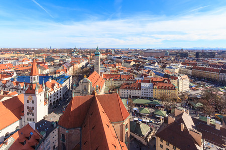 Munich cityscape seen from Alter Peter, the tower of St. Peters church photo