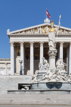athene: Facade of the Austrian Parliament with a statue of  Pallas Athene in Vienna