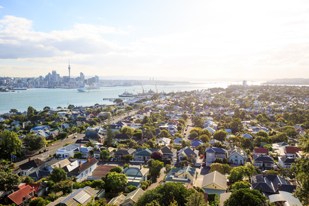 The skyline of Auckland seen from the village Devonport, New Zealand