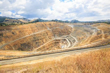 open cast mine: Surface mining of gold in an open pit mine in Waihi, New Zealand