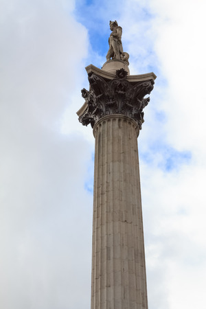 admiral: The column with the stone statue of Admiral Nelson on Trafalgar square in London, UK