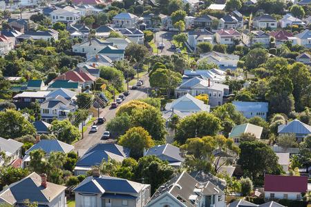 Sectie van het stadje Devonport tegenover Auckland, Nieuw-Zeeland