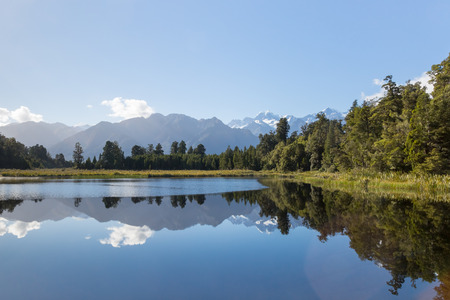 newzealand: A segment of Lake Matheson and Mount Cook in New Zealand
