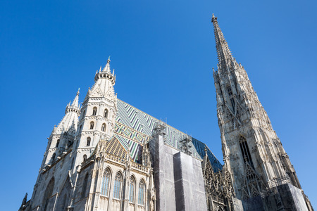 stephansplatz: The catholic dome St. Stephan in Vienna, Austria, with partial scaffold Stock Photo