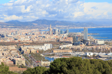 montjuic: View from Montjuic to the coast of Barcelona including the marina and the port