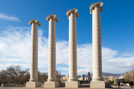 ionic: Four ionic columns in the city center of Barcelona near montjuic (les quatre columnes in spanish) Stock Photo