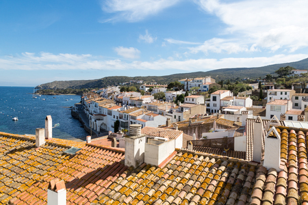 mediterranean coast: Waterfront and buildings of Cadaques, Spain - seen from the church
