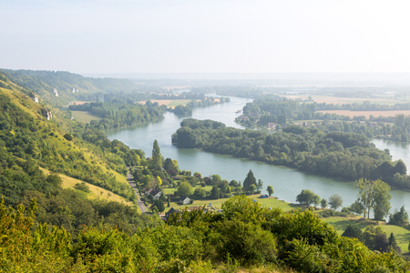 Panorama over the river Seine in Normandie, France