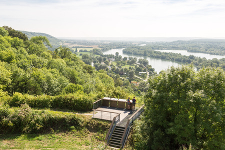 wanderers: Two wanderers enjoying the panorama from castle Gaillard over the river Seine in Normandie, France