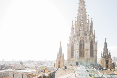 Panorama from the roof of the cathedral of Barcelona, Spain Imagens