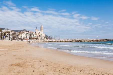 Panorama of the waterfront of Sitges with a church, Spain