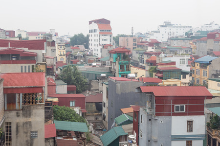 Cityscape and roofs in the old quarter in the morning in Hanoi, Vietnam