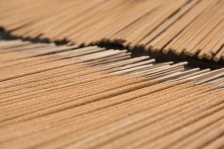 A closeup of vietnamese cinnamon incense sticks