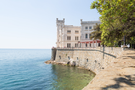 Castle Miramare in the bay close to Triest, Italy Imagens - 80993064
