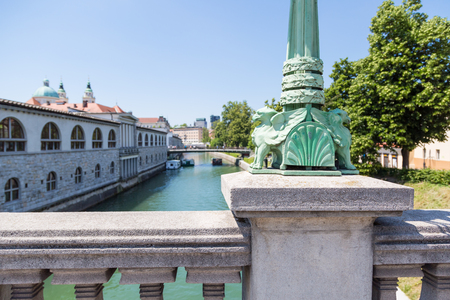 View from the dragon bridge over the ljubljanica river with dragon details in lamp posts in  Ljubljana, Slovenia Imagens
