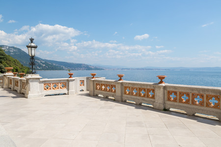 Terrace view of castle Miramare along the coast near Trieste, Italy