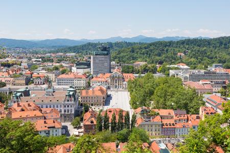 Ljubljana cityscape including the congress square seen from the castle (Ljubljana, Slovenia) Фото со стока