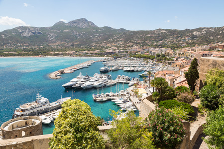 View from above on the marina in Calvi, Corsica, France Imagens