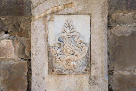 Royal pineapple symbol of Mexican Emperor Maximilian on a stone wall at castle Miramare, Trieste, Italy Imagens - 84730923