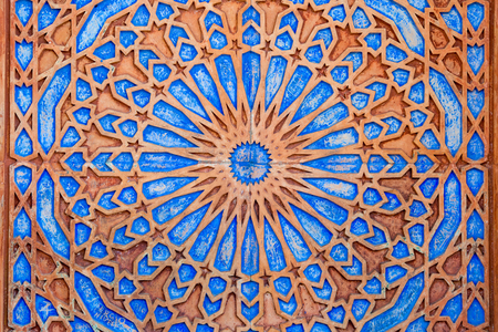 Bright symmetric circle pattern in orange and blue at Castle Miramare, Triest, Italy