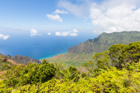 Famous Kalalau Valley Lookout on the hawaiian island Kauai, USA Imagens - 89701629