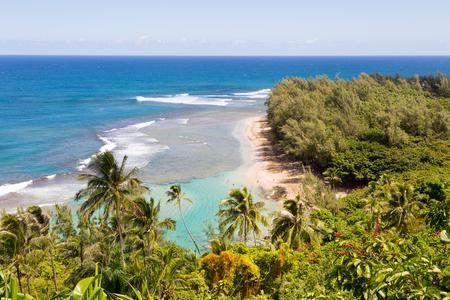 Beautiful Kalalau trail lookout on the island of Kauai, Hawaii