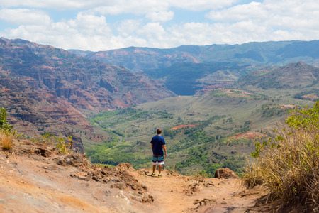 Man from behind dressed in sports gear standing in front of Waimea canyon on the island Kauai, Hawaii, USA Imagens