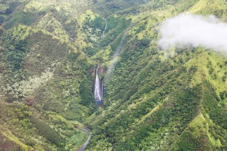 Manawaiopuna  Jurassic falls on Kauai, Hawai, USAi