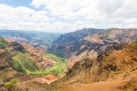 Former and dry river valley of Waimea canyon on the island Kauai, Hawaii, USA