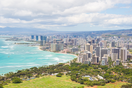Honolulu skyline and Waikiki beach seen from Diamond Head, Hawaii, USA Фото со стока