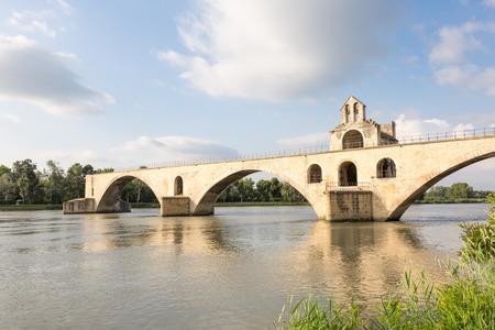 Famous medieval bridge in Avignon over river Rhone, Provence, France