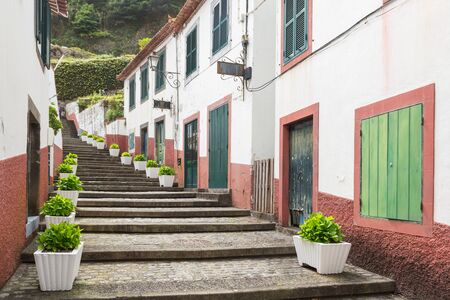 Narrow street in Sao Vicente on the island Madeira, Portugal