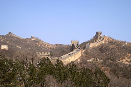 베이징의 산 범위 외부 함께 중국의 만리 장성 스톡 콘텐츠