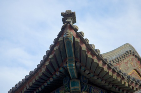 Corner Of The Roof Of Traditional Ancient Chinese Architecture Building Banco de Imagens