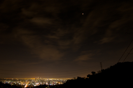 concealing: April 14, 2014 (4142014) - Blood Moon Total Lunar Eclipse Over Downtown Los Angeles, California