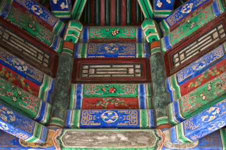 Traditional Chinese Writing And Ornamentation On The Ceiling Of A Building Within The Summer Palace In Beijing