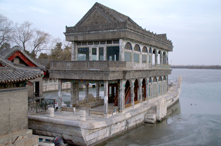 The Marble Boat On Frozen Lake Kunming At The Summer Palace In Beijing China